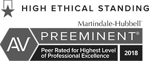High Ethical Standing AV Preeminent Peer Rated for Highest Level of Professional Excellence 2018